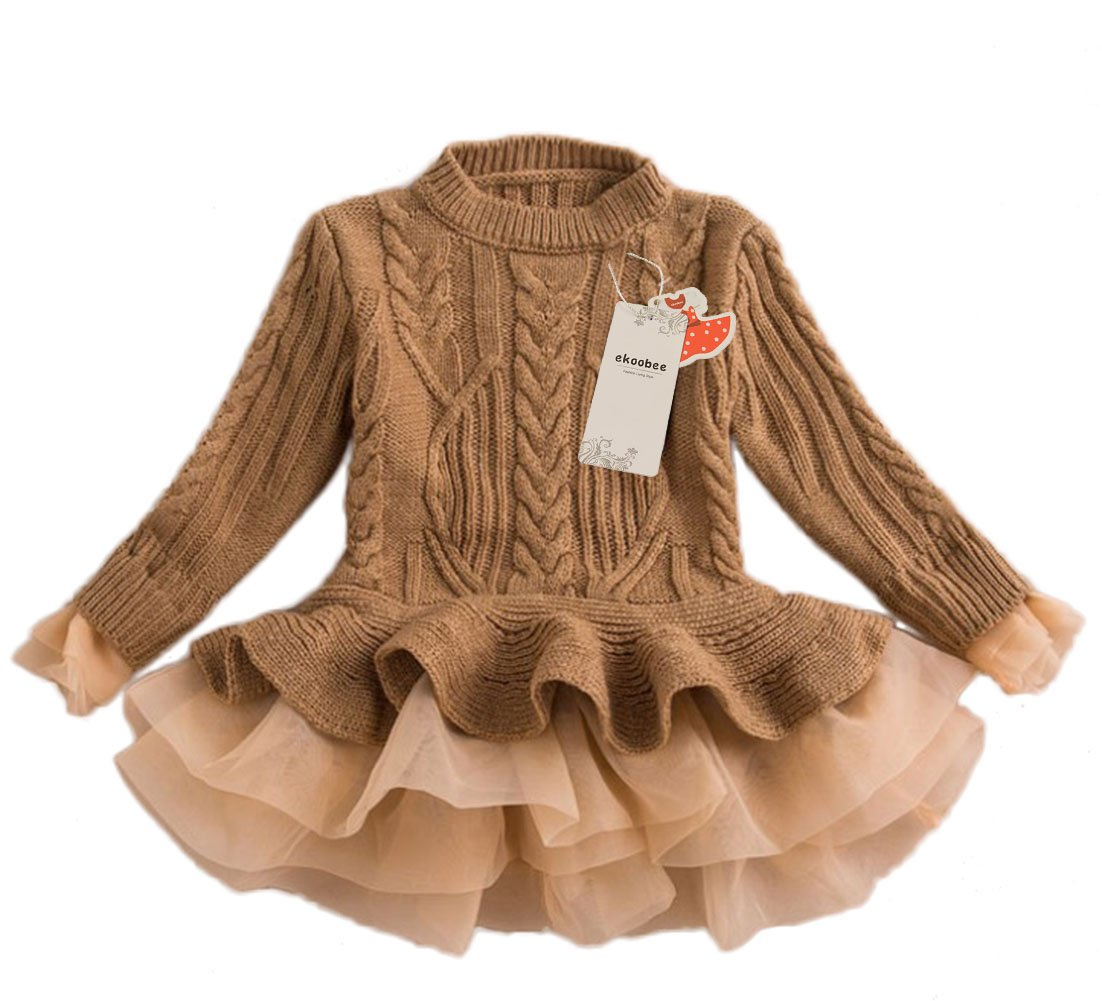 ekoobee Little Girls Pullover Woolen Organza Sweater Warn Dress
