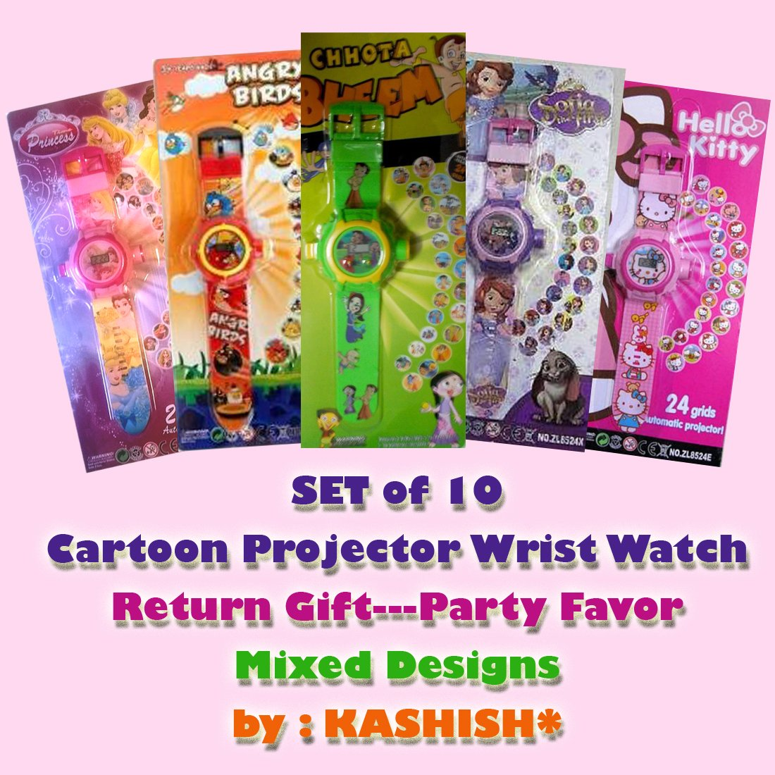 Buy SET of 10---Cartoon Projector Wrist Watch---Return Gift---Party ...