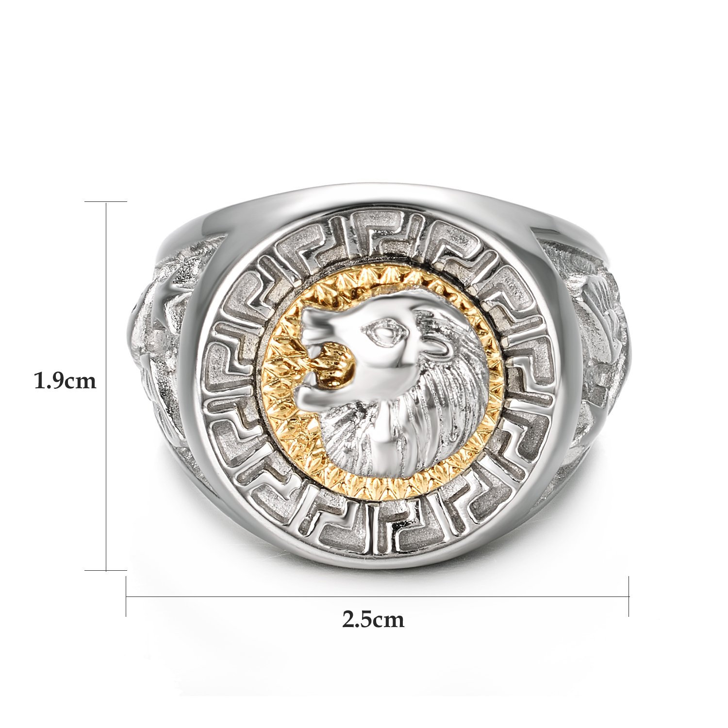 Yoursfs Lion Ring 18K Gold/Sliver Plated Hip Hop Ring Lion Ring Men's Titanium Ring (White, 12) by Yoursfs (Image #2)