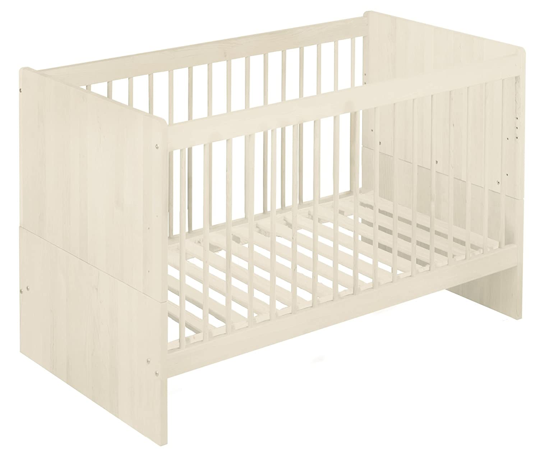 BioKinder Lina Babybett Kinderbett Gitterbett aus Massivholz Kiefer 70 x 140 cm weiß lasiert