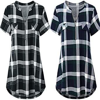 FORUU womens Tops&Tee T Shirts for Womens, FORUU Zip Plaid V Neck Short Sleeve Casual Polo Blouse Tops at Amazon Womens Clothing store: