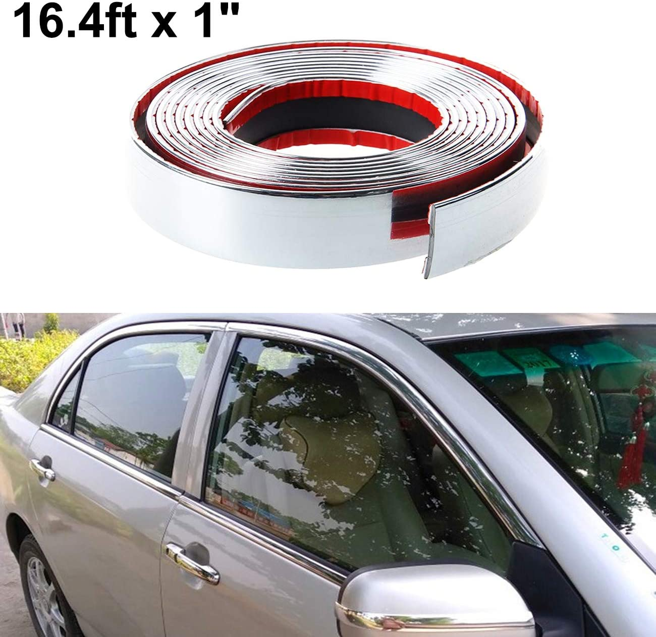16ft x 25mm Decoration Silver Moulding Trim Bumper Protector Strip for Car SUV