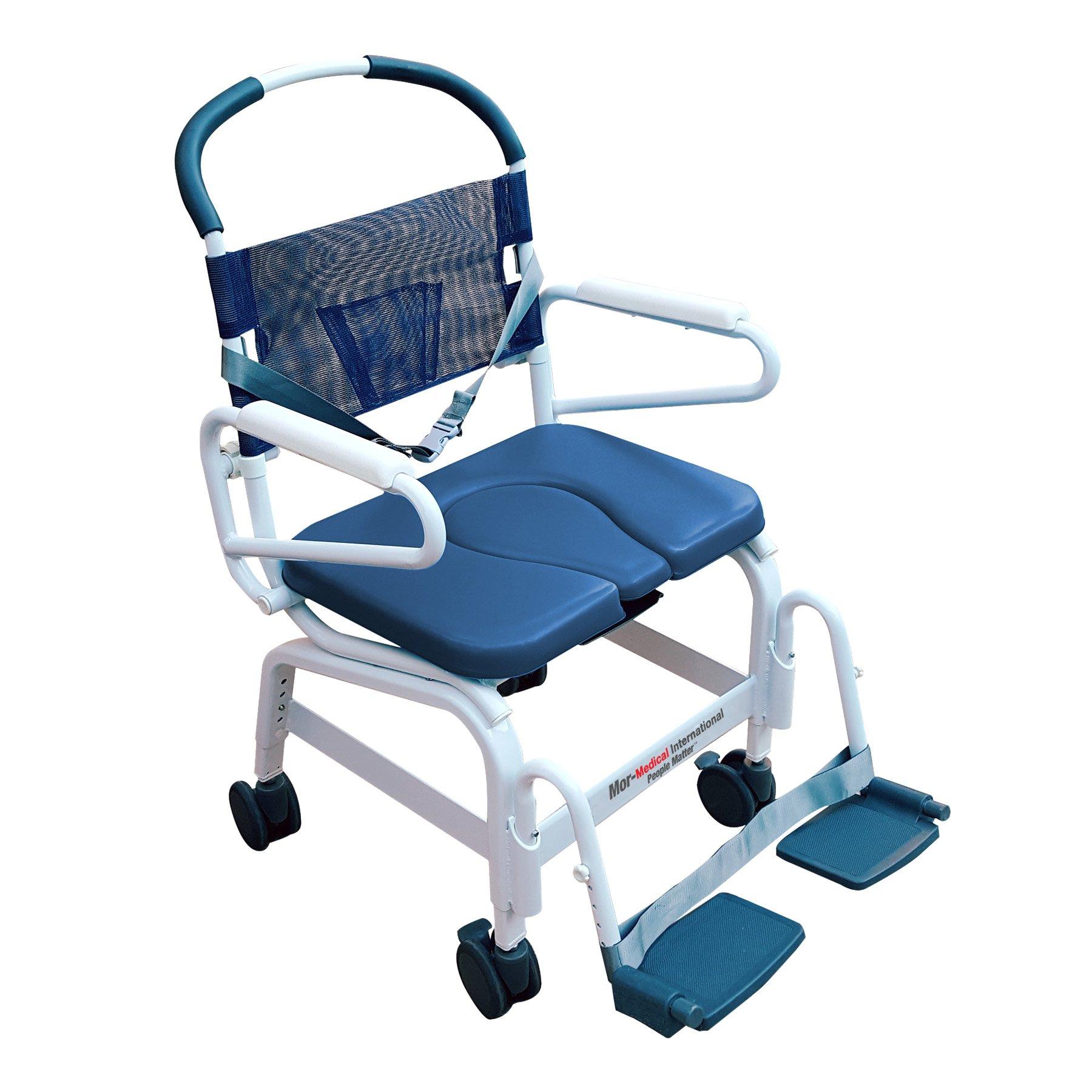 Mor-Medical International MD-122-4TL-BL Adjacent Aluminum Shower Commode Chair, 22'' Internal Wide, 375 lb. Capacity, Foldaway Adjustable/Removable Footrest
