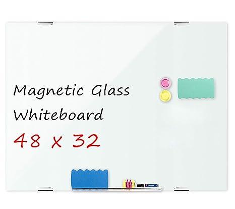 Amazon.com: welmors - Pizarra blanca magnética de cristal ...