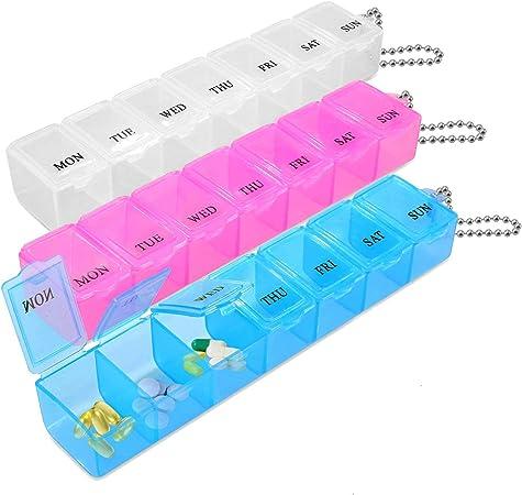 Promemoria per Pillole IN ITALIANO Box Porta Pastigia 7 Scomparti 150 x 32 mm, Blu Contenitore per Pillole con 7 Giorni Portapillole Settimanale