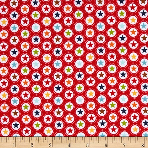Riley Blake Play Ball Flannel Star Red Fabric By The Yard