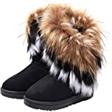 VFDB Women Mid Calf Boot Suede Faux Fur Tassel Outdoor Winter Snow Suede Flat Shoes