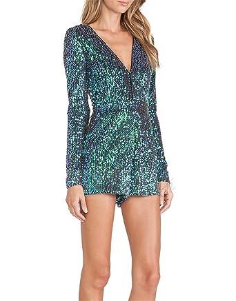 3a1f9e5d57 Amazon.com  Daniig New Sexy Women Sequins Glitter Jumpsuit Back Zipper  Loose Party Jumpsuits For Wholesale  Clothing