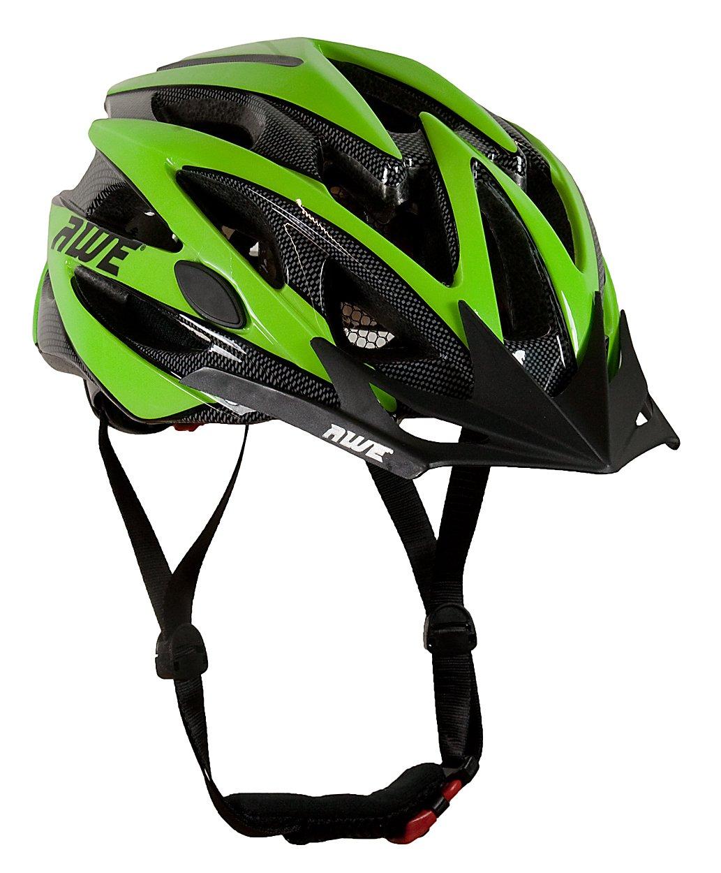 AWE® Wave™ Hombres de bicicleta casco negro verde tamaño cm