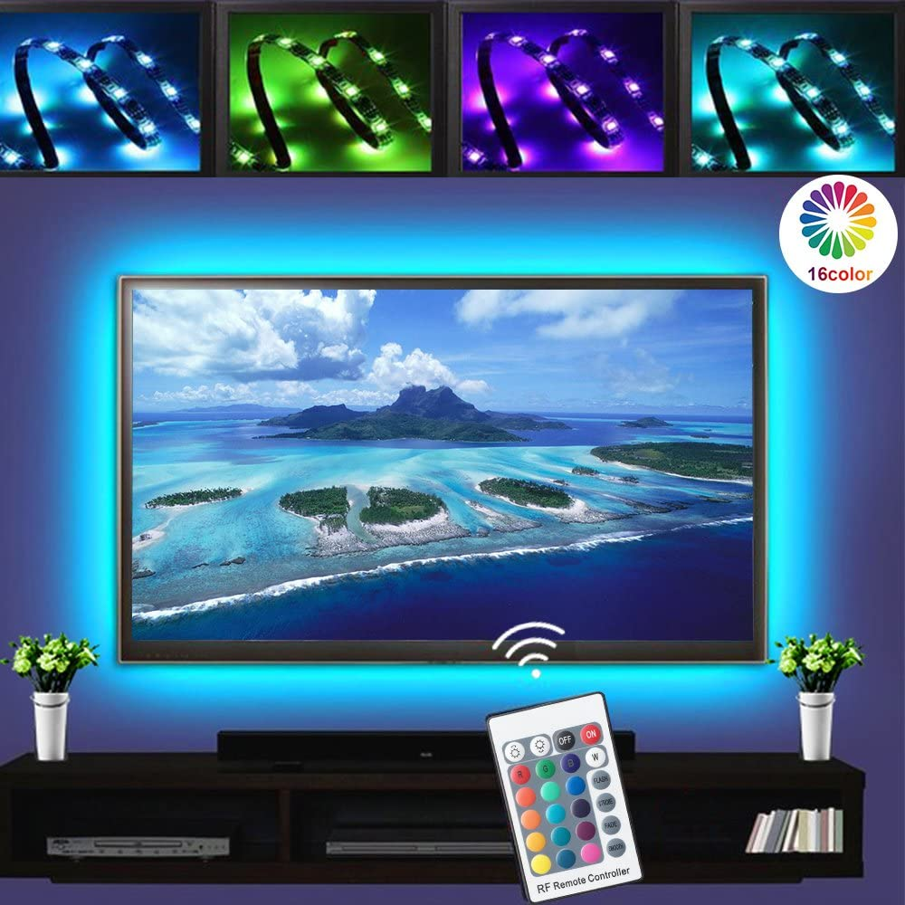 LED TV Backlights, RGB LED Strip Lights, 1M/3.3ft USB Powered Bias Lighting Kits, LED Strip Lights with RF Remote Controller (16 Colors and 4 Dynamic Modes), led for HDTV,PC Monitor and Home Theater