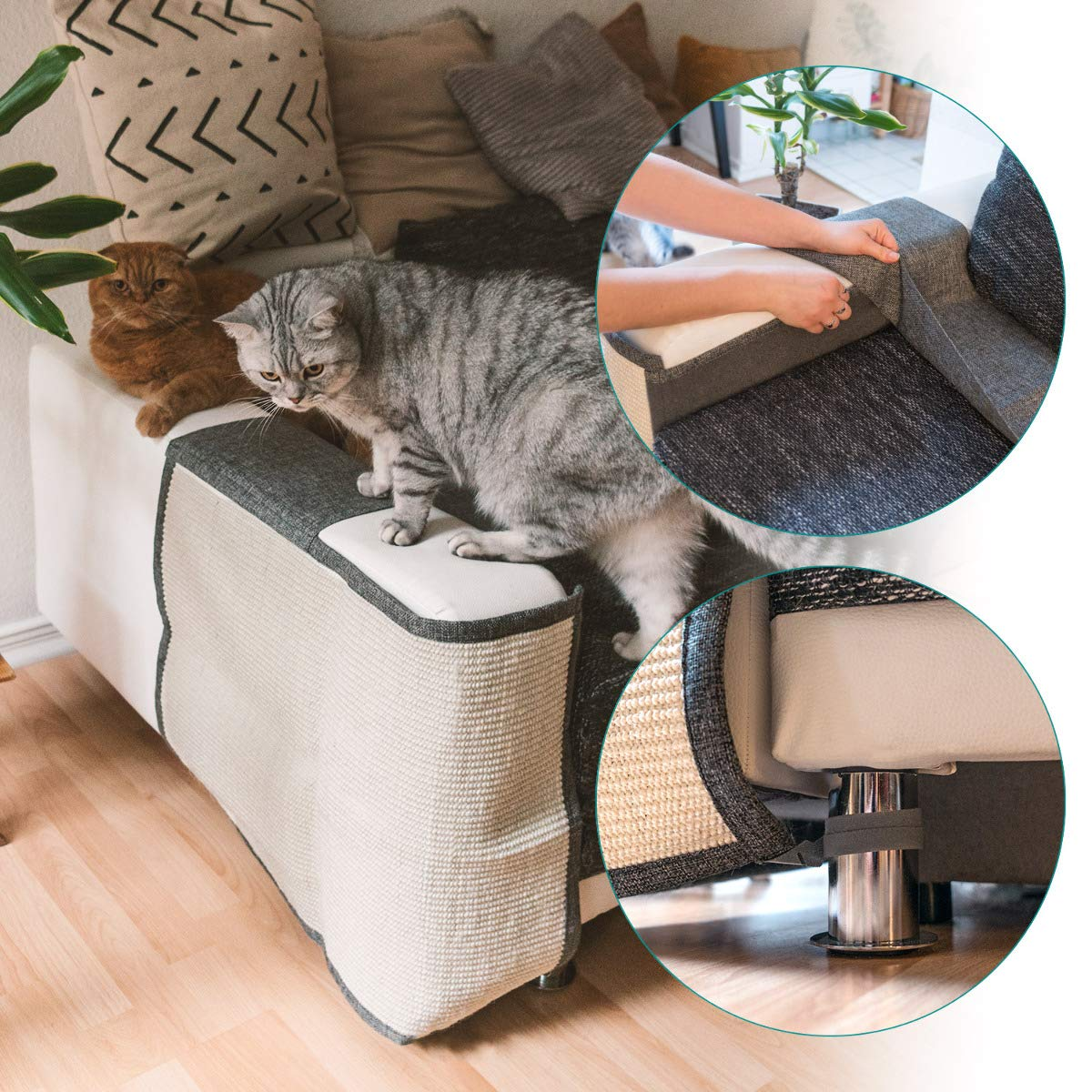 Seat Chair Couch Natural Sisal Furniture Protector Scratching Pad for Cats Navaris Cat Scratch Mat Sofa Shield Scratch Carpet for Bed Stairs