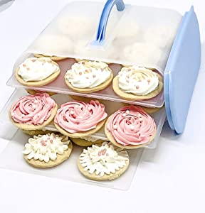 Cookie and Cake Carrier Container with Handle and Lid 4 Trays Cupcake Storage Transport Holder Box 2 Devil Eggs Trays Included BLUE