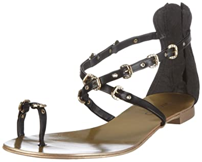VIA UNO Leather.NP Roma 21013603, Damen, Sandalen/Zehentrenner, Schwarz (black), EU 39