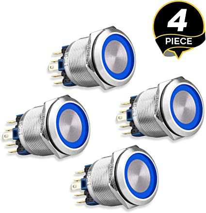 High Ring Light Latching Push Button Switch Blue DC 12V Stainless Steel Metal Suitable for 12mm 1//2 Mounting Hole