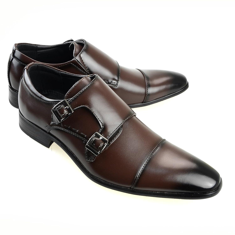 Mens Double Monk Strap Plain Toe Slip On Dress Shoes Black Brown