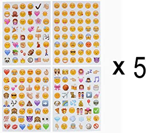 Emoji Stickers 20 Sheets Funny Emoticon Stickers (2 cm) Smiley Face Decorative Kids Party Supplies Favors for Journal Plan Pictures Scrapbook