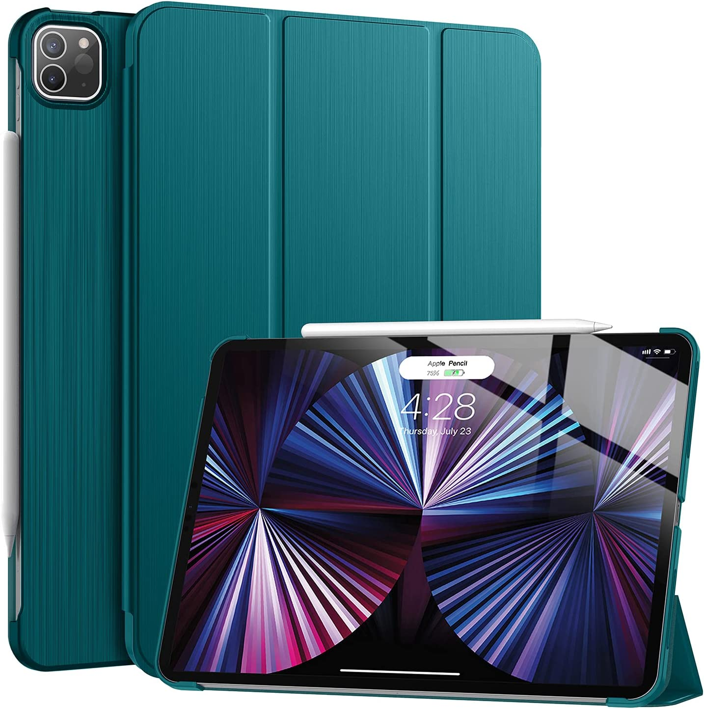 Soke New iPad Pro 11 Case 2021(3rd Generation) - [Slim Trifold Stand + 2nd Gen Apple Pencil Charging + Smart Auto Wake/Sleep],Premium Protective Hard PC Back Cover for iPad Pro 11 inch(Teal)
