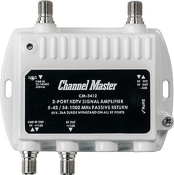 Channel Master CM3412 - Amplificador de señal de TV (Negro, Color ...