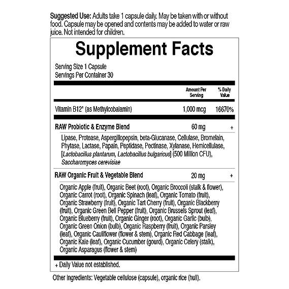 Jardín de vida - Vitamina B12 1000 mcg - Raw de código de ...