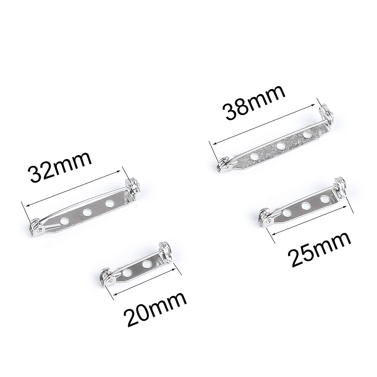 Tugaizi 150 Pieces 4 Sizes Silver Tone Pin Backs Bar Pins Brooch Pin Back Safety Clasp Brooch Pin with a matte plastic box 20 mm, 25 mm, 32 mm and 38 mm
