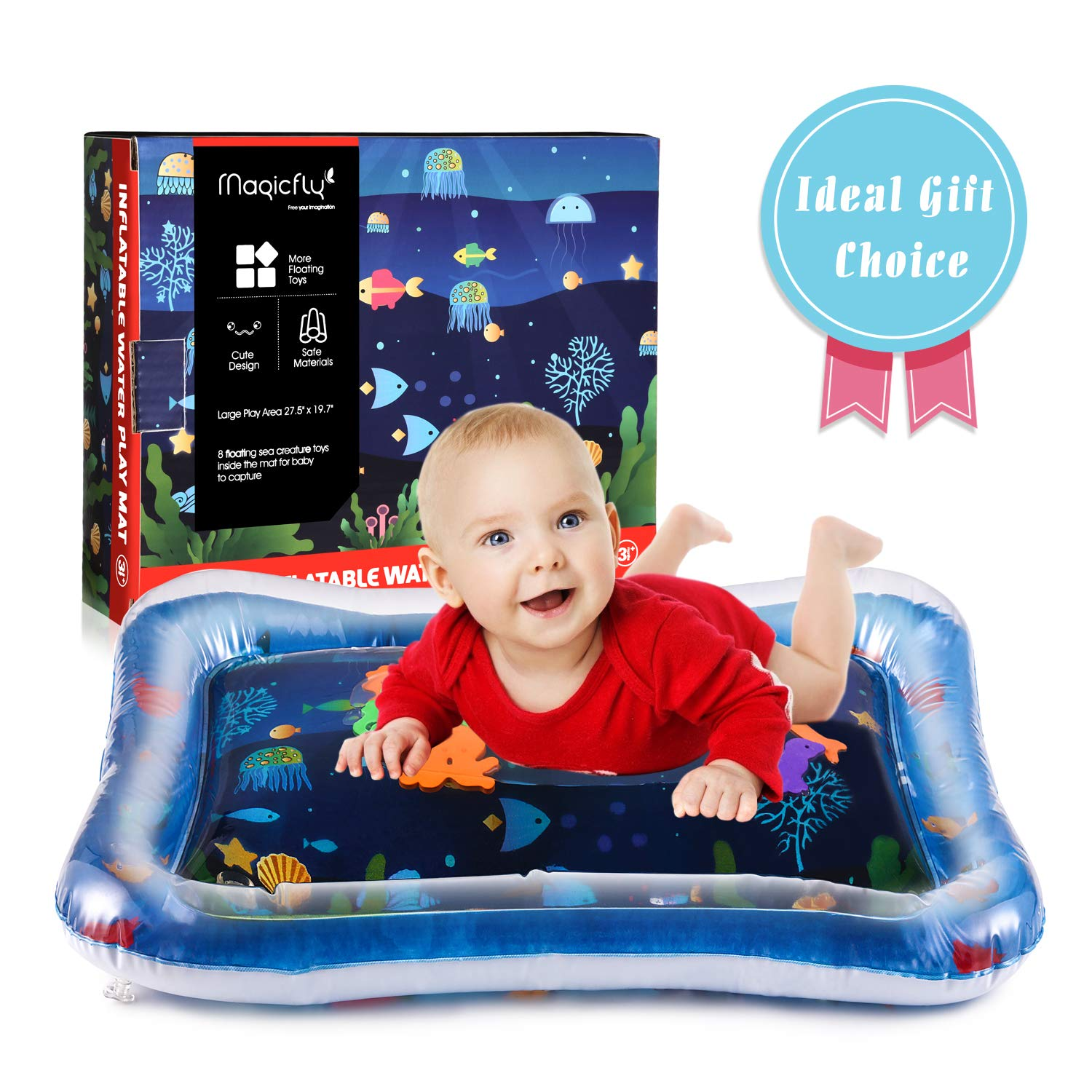 Magicfly Premium Baby Water Mat 27.5 X 19.7 inches Inflatable Tummy Time Mat for Infant Toys 3 Months