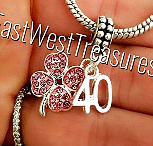 9b64d150d Image Unavailable. Image not available for. Color: Lucky number 40 40th  birthday anniversary Charms for charm ...