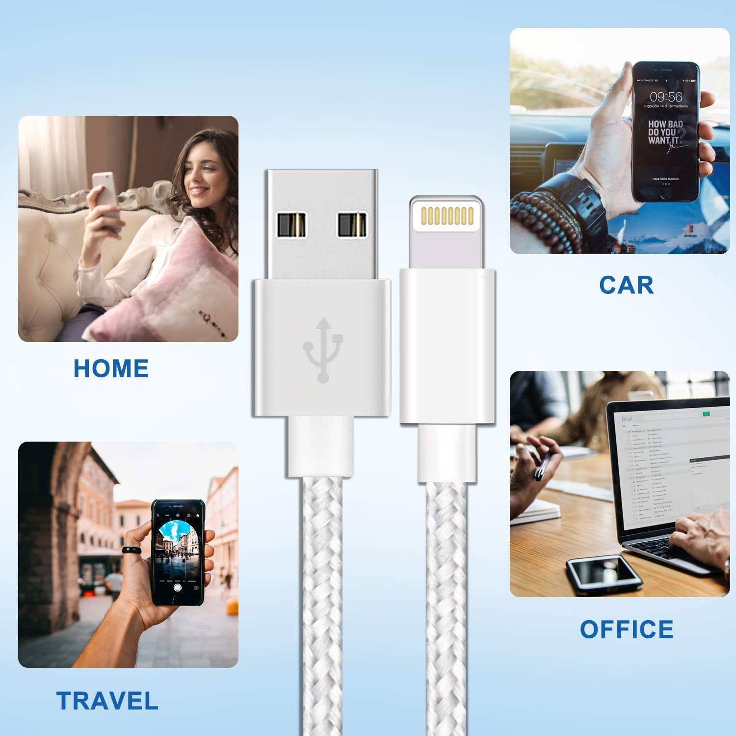 Aonsen Phone Cable Charger 3Pack 10FT Nylon Braided USB Charging /& Syncing Cord Compatible Phone XS Max XR X Phone 8 8 Plus 7 7 Plus 6s 6s Plus 6 6 Plus Nano Grey