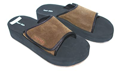 6036bcaaccb Foot-EEZ Brown   Black Unisex Diabetic   Pain-Relief Adjustable Sandals ( Mens