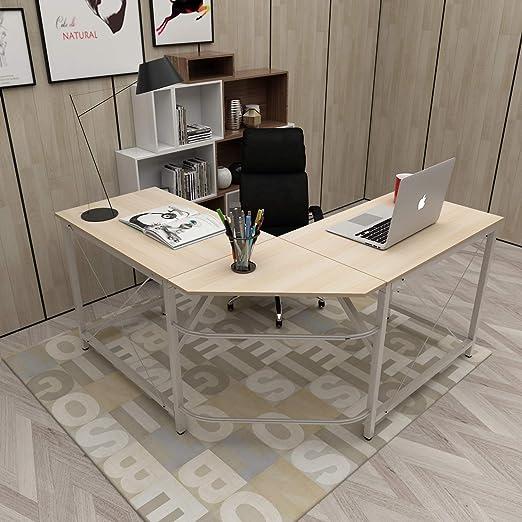 DlandHome L Escritorio de la computadora 150cm + 150cm, Ordenador ...