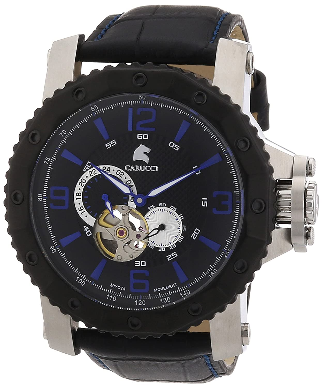 Carucci Watches Turin CA2198LB-BK - Reloj analógico automático para Hombre, Correa de Cuero Color Negro