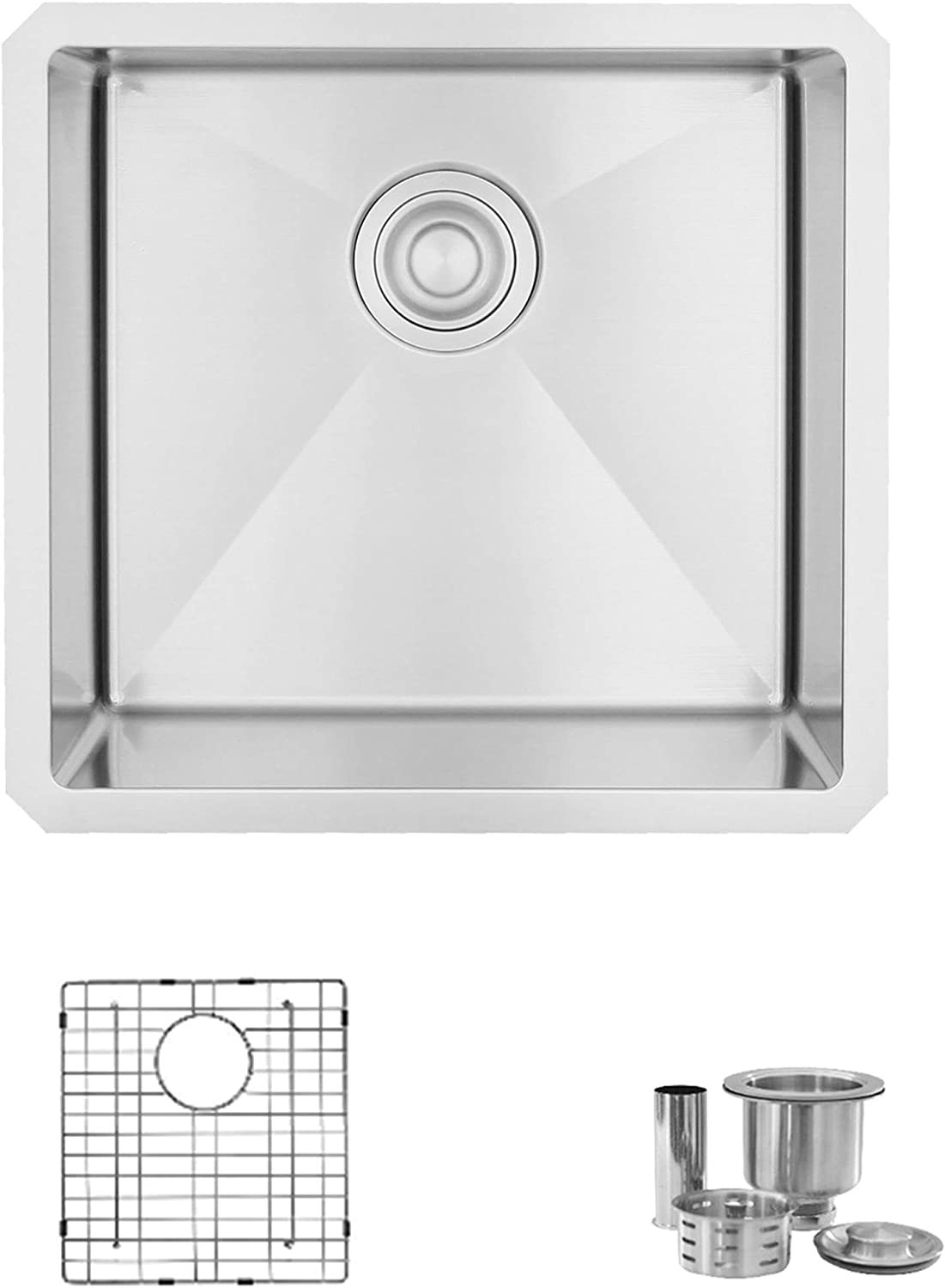 19 L X 18 W Stainless Steel Single Bowl Undermount 16g Kitchen Sink With Grid And Strainer S 308xg Amazon Ca Tools Home Improvement