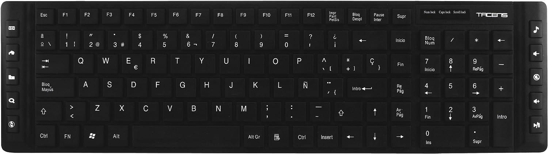 Tacens Anima AK1 - Teclado para ordenador (teclas de bajo perfil, 10 teclas multimedia, USB), negro