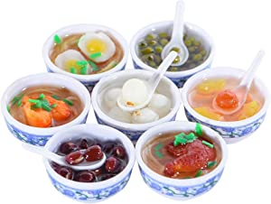 ANNI STAR Play Food for Kids Kitchen, Mini Toy Food Chinese Blue and White Pottery Sweet Soup Syrup Noodle Bowls, Dollhouse Accessories, 7Pcs