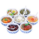 ANNI STAR Play Food for Kids Kitchen, Mini Toy Food Chinese Blue and White Pottery Sweet Soup Syrup Noodle Bowls, Dollhouse A