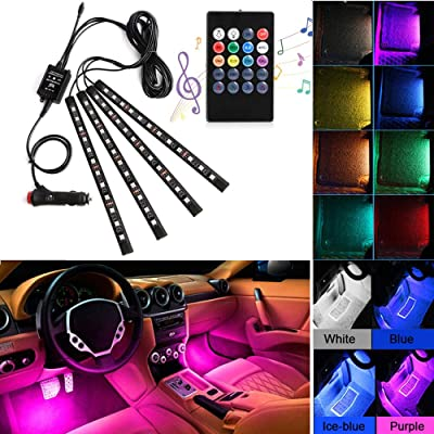 Car LED Strip Lights, AXELECT 48 LED Interior Lights-Multicolor Music Car Interior Lights Under Dash Lighting Kit with Sound Active Function and Remote Control, DC 12V: Automotive
