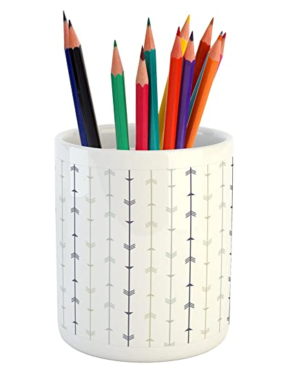 Superbe Lunarable Arrows Pencil Pen Holder, Vertical Geometric Monochrome Hipster  Line Pattern With Vintage Arrows,