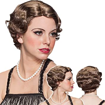 Net Toys Perruque Charleston Femme Coiffure Annees 1920 Chatain