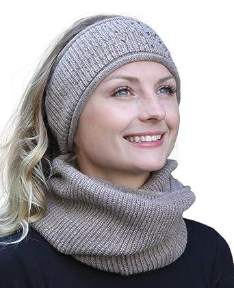 5b26d6f5a33985 Hilltop Winter Kombi Set aus Schal und passendem Kopfband aus 100% Angora, Winter  Set