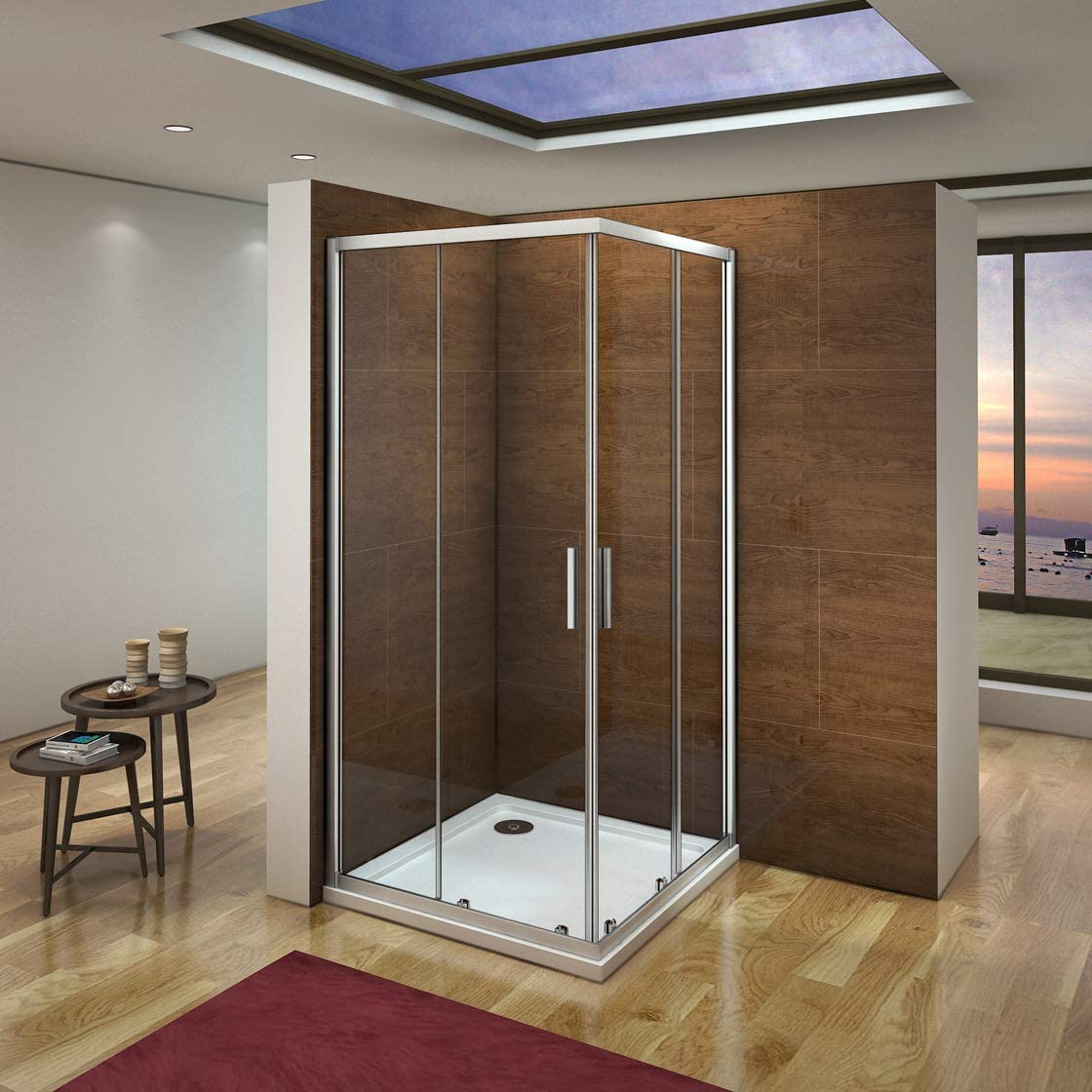 Mampara de Ducha Angular cabina de ducha mampara de ducha cuadrada Puerta Corredera Cristal 5 MM perfilería gris mate 90x80x185cm