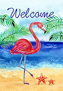 Morigins Flamingo Beach Summer Garden Flag Double Sided Welcome Tropical Palm Trees Outdoor Yard Flag 12x18 Inch