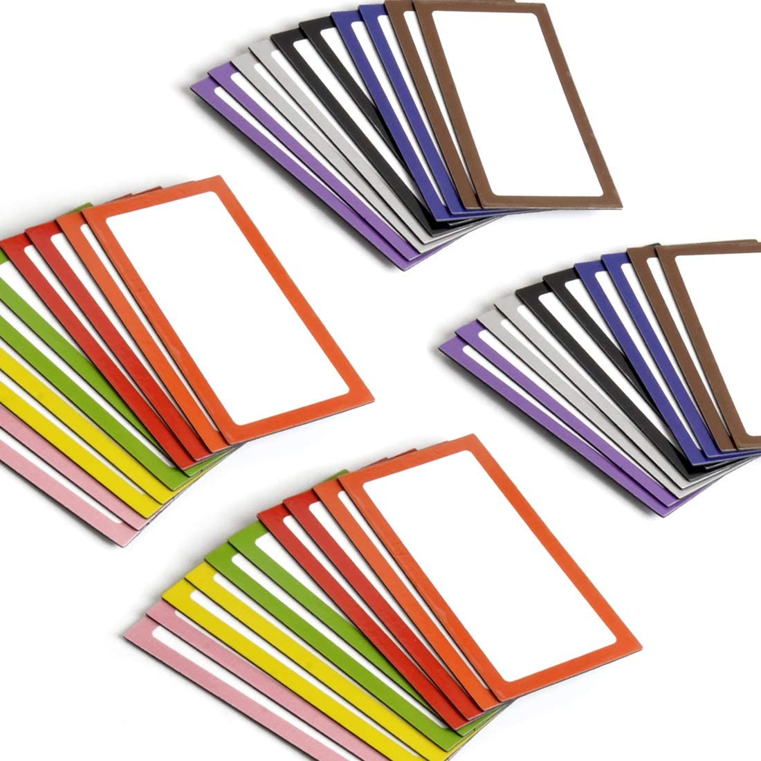 Magnetic Dry Erase Labels, 40 Pieces Magnetic Label Stickers, Refrigerator Whiteboards, 10 Colors, 4 x 2 Inches