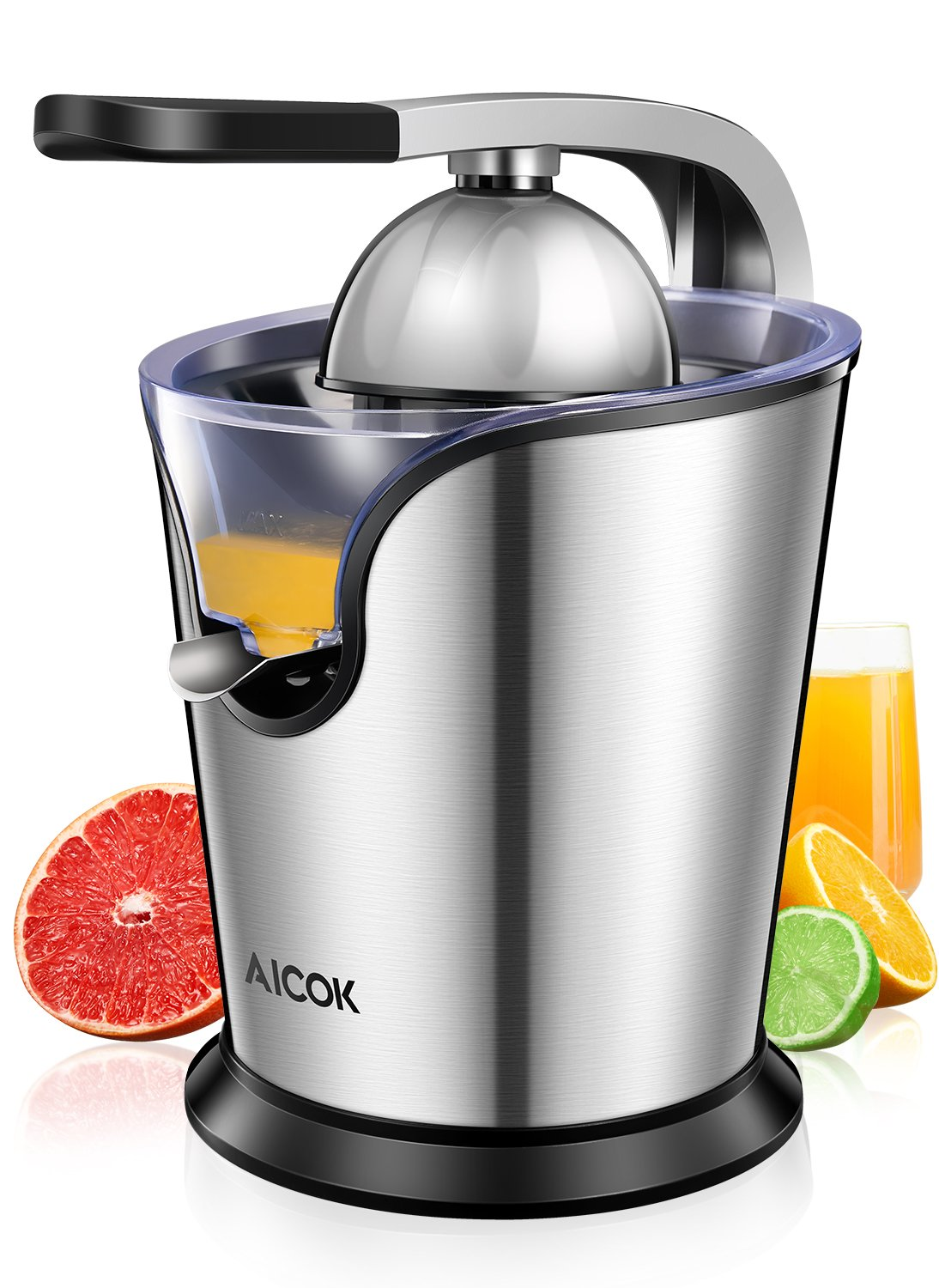 Aicok Citrus Juicer Electric Powerful 160W with Humanized Handle Citrus Press, Stainless Steel Anti-Drip Spout High Nutrient Orange Juice, Double Size Cones and Whisper-Quiet Motor, BPA free