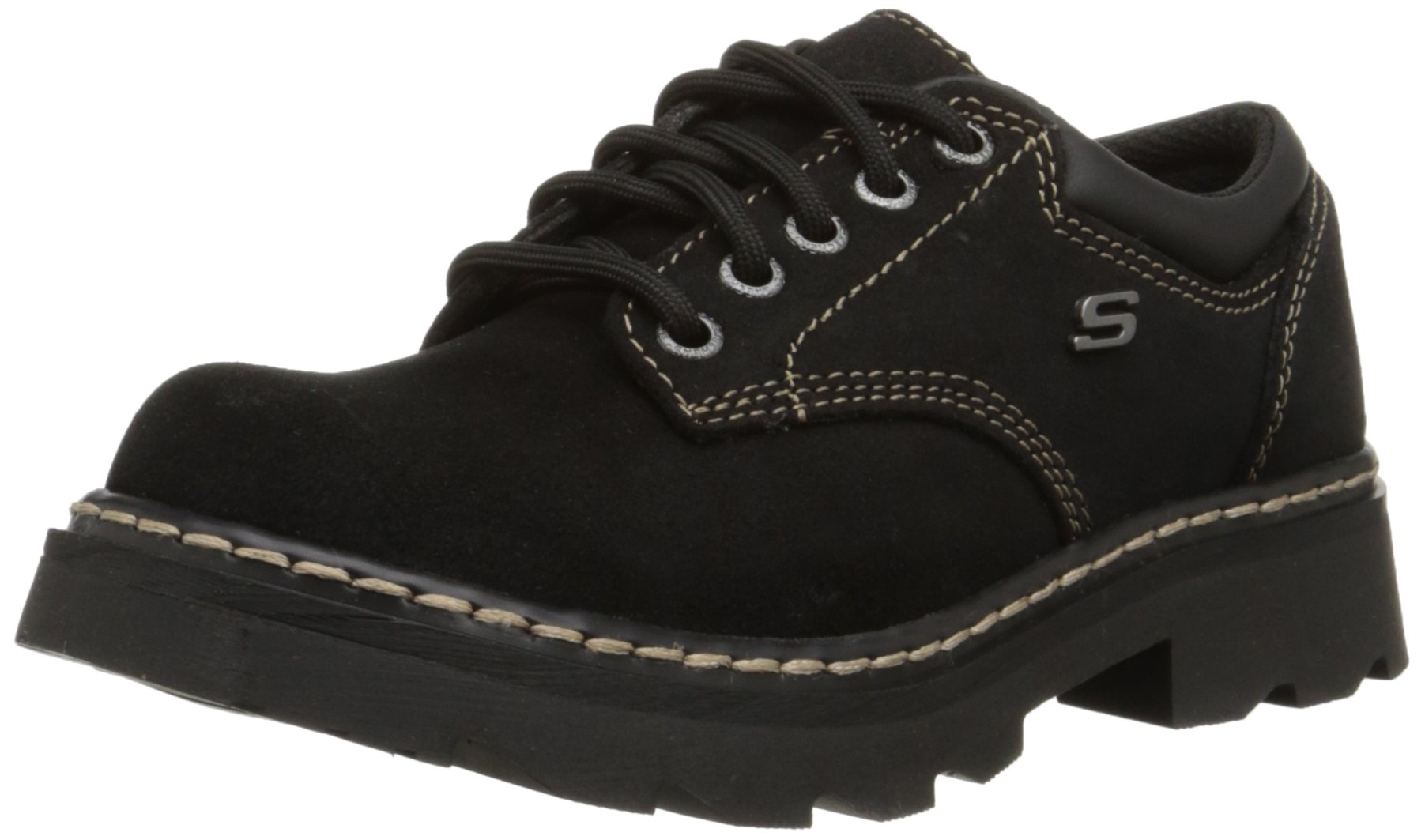 Skechers Women's Parties-Mate Oxford,Black Suede Leather,8.5 M US by Skechers