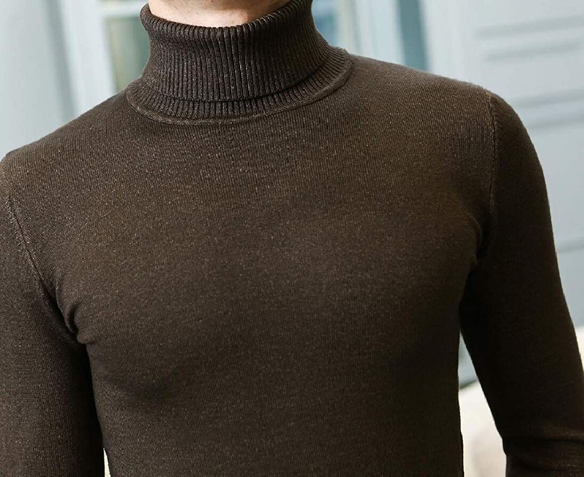 ouxiuli Mens Basic Slim Fit Turtleneck Solid Knitting Fall Pullover Sweaters