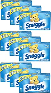 Snuggle Fabric Softener Dryer Sheets, Cuddle Up Fresh - 1 Case - 80 Sheet x 9 Pack - Total 720 Dryer Sheets