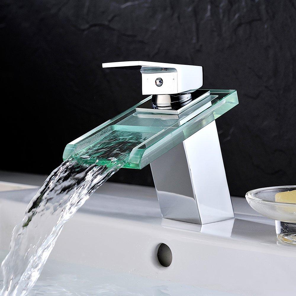 Homelody - Wasserfallarmatur, Waschtischarmatur, Einhebel, ohne Ablaufgarnitur, Chrom-Glas