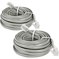 Uvital Cable de extensión de teléfono fijo de 6,8 m con conectores RJ-11 6P4C estándar (gris 7,7 m, 2 unidades)