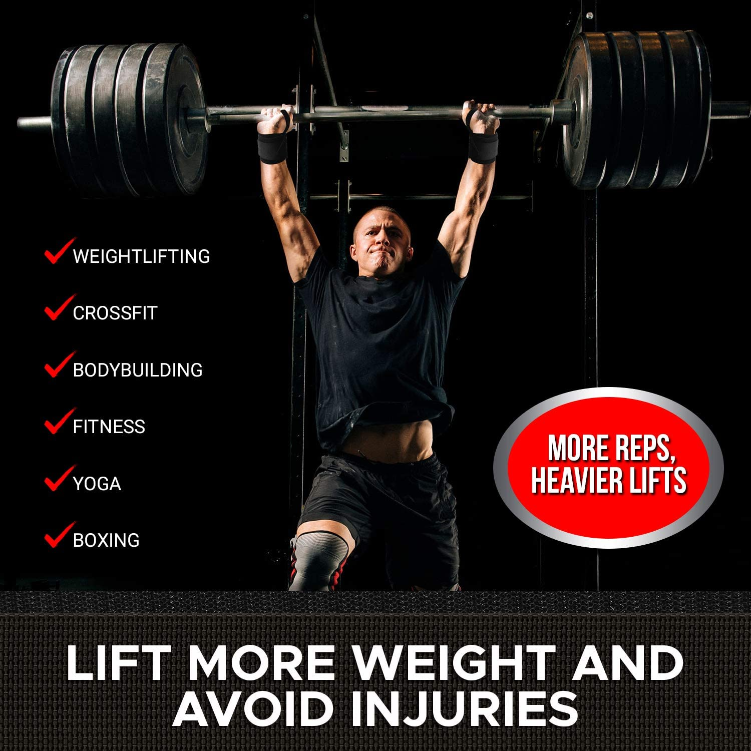 Exercises /& Fitness Workout Powerlifting Gym Deadlift for Men//Women Heavy-Duty Wrist Support with Thumb Loop/—12 or 18 Pair WBCM/—Premium Weight Lifting Wrist Wraps for Crossfit Weightlifting