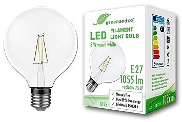 greenandco Bombilla de filamento LED Vintage E27 G125 8W (corresponde a 75W) 1055lm 2700K (Blanco cálido) 360° 230V Vidrio, sin Parpadeo, no Regulable: ...