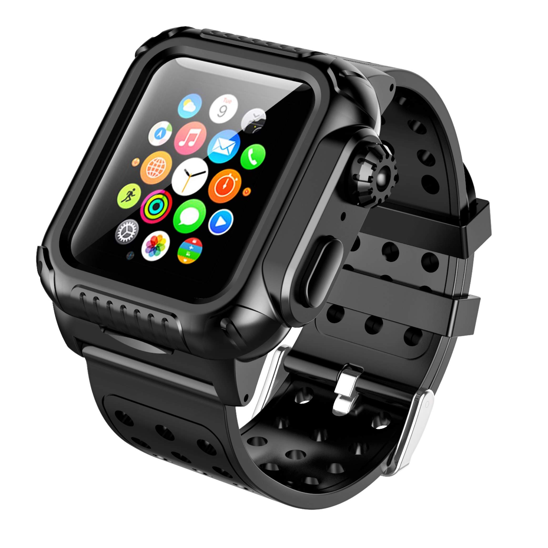 Apple Watch 4 40mm Case Band, SPIDERCASE 360° Rugged Case with Strap Band, Built-in Screen Protector Full Body Cover Case for Apple Watch Series 4 40mm ONLY, Anti-Scratch, Shockproof and More by SPIDERCASE
